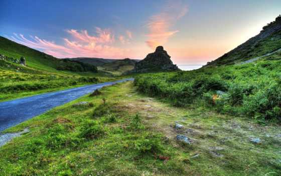 exmoor, hills, unido, reino, пиратские, park, природа, valle, las, carretera,