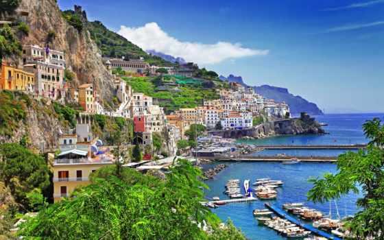 побережье, амальфитанское, amalfi, италии, щедрин, амальфитанском, стоковое, позитано, italian, отдых,