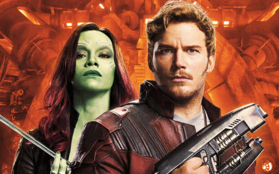 gamora, quill, guardians, peter, galaxy, vol, chris, saldana,