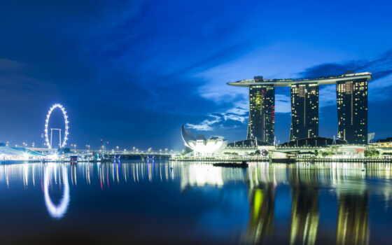 park, singapore, merlion, bay, разместить, one, близко, город, марина, аттракцион, красивый