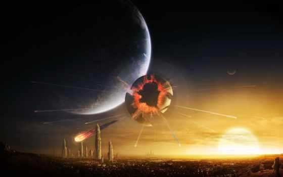 art, digital, взрыв, excidium, город, планета, planets, universe, desktop, катастрофа, science, you, use, космос, фэнтези, fiction,