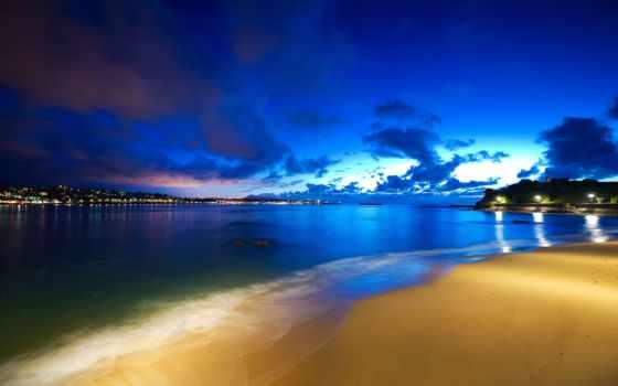 ocean, ночь, desktop