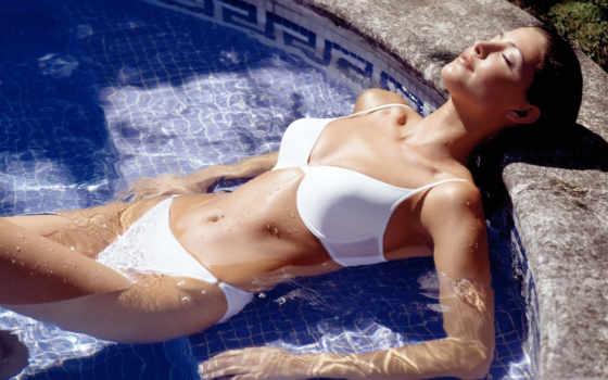 девушка, голая, обливается, водой,