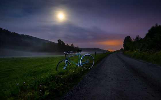 туман, fone, неба, луна, поле, ночного, дороги, стелется, ночь,