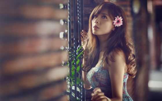 девушка, браслет, цветы