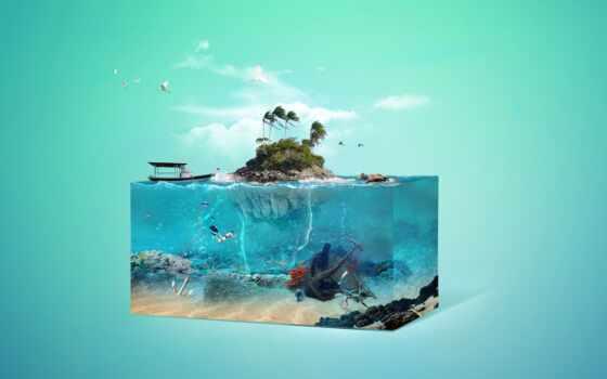 остров, underwater, art, world, море, rock, лодка, tropical