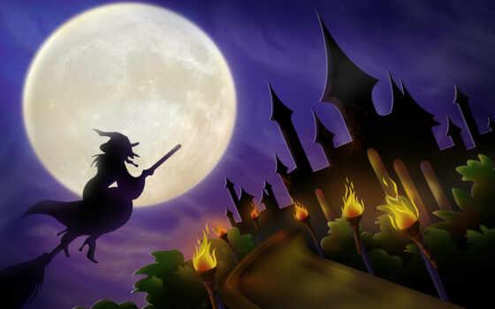 wizard, halloween, castle, flying, часто, праздник, volcano,