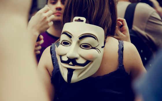 маска, фокса, гая, девушки, маски, спине, парень, fawkes,