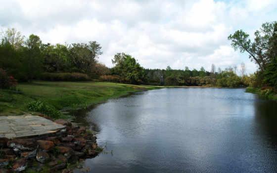 река, летом, спокойная, красивые, дек,