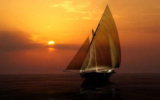 море, закат, sun, небо, яхта, парусные, горизонт, рассветы, корабли, закаты, sailboat,