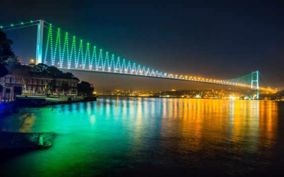 мост, bosphorus, istanbul, ночь, turkey, огни, город, море, marmara,