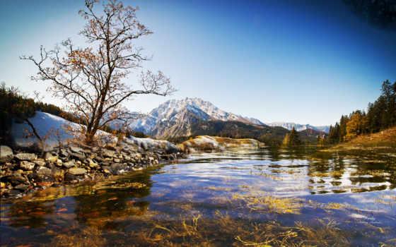 landscape, река, water