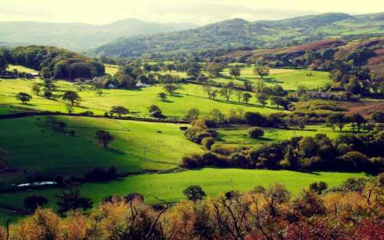взгляд, сверху, landscape, margin, пейзажи -, дома, top, горы, холмы, поля,