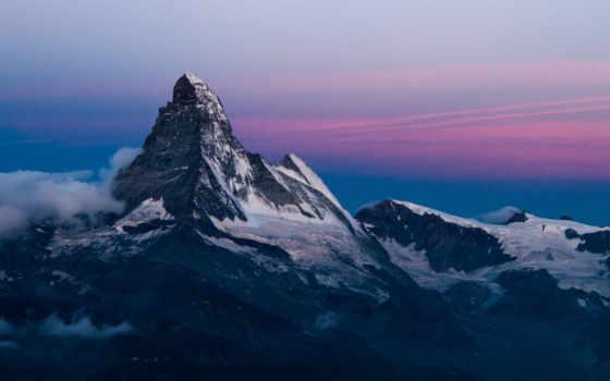 горы, снег, небо, скалы, oblaka, гора, склон, peak, trees,