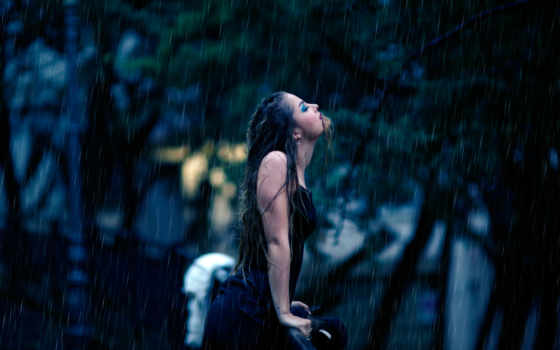 девушка, под, alessandro, ди, фотограф, дождем, cicco, стоит, дождь,
