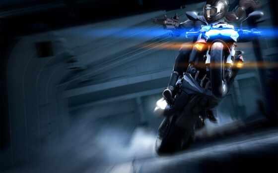 мотоцикл, девушка, дым
