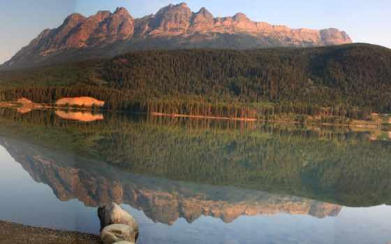 природа, озеро, yellowhead, картинка, канада, паркс, леса, provincial, landscape, горы,