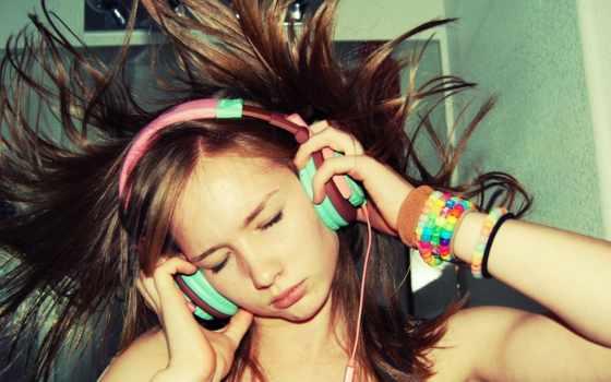 девушка, музыку, слушает