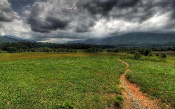 тропинка, поле, тучи, deviantart, холмы, paulweber, landscape, trees, гора, снится, processed,