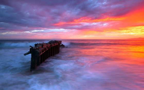 закат, море, landscape, природа, сопровождение, небо,