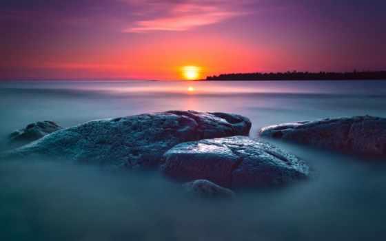 природа, закат, море