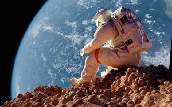 астронавт, луна, earth, astronauts, sitting, stock, watching, космос,
