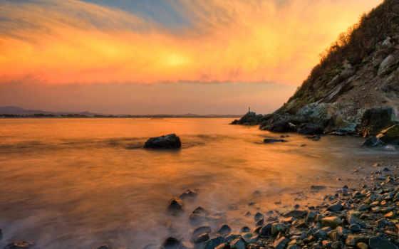 море, закат, горы, ocean, скалы, water,