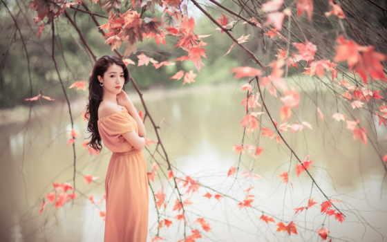 красавица, природа, девушка, азиатка, настроение
