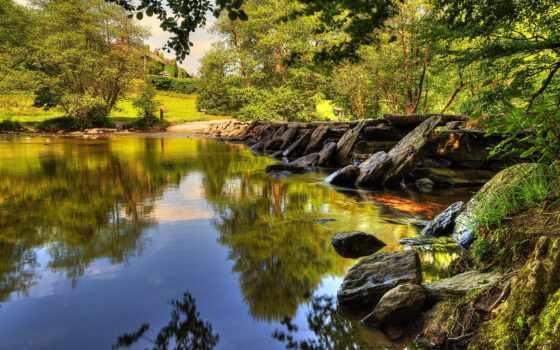 landscape, шаги, эксмур, великобритания, тарр, река, деревя,