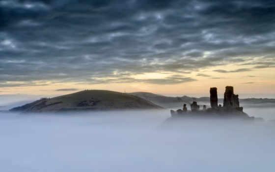 castle, mist, you