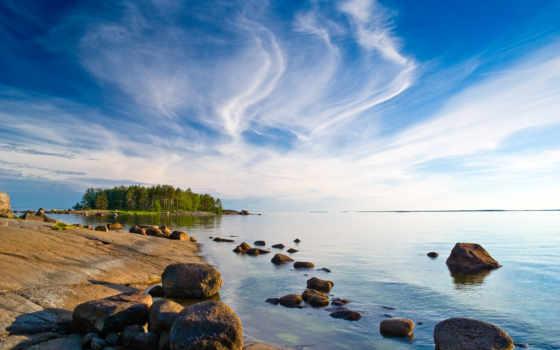 море, финляндия, oblaka