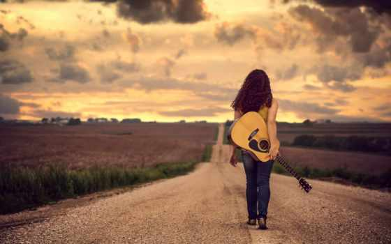 tapety, гитара, девушка