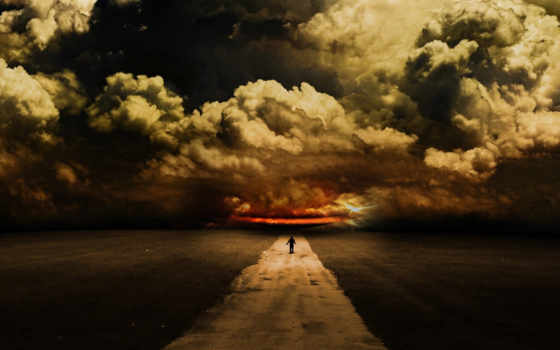 дорога, art, мужчина, небо, abdelrahman, loneliness, тучи, природа,