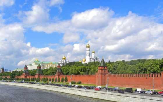кремль, москва, река, красная, панорама,