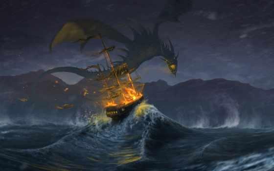 дракон, корабль, парусник, fantasy, art, дешевые, игры, aliexpress, funon, дракона,