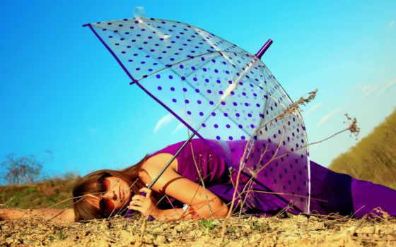 зонтик, природа, лес, девушка, небо, лежа, смотреть, шатенка, рисованные, winter, силуэт,