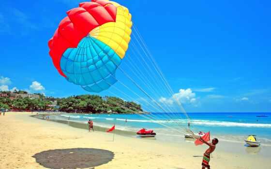 парашютный, море, взгляд, прыжок