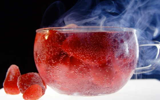 ,клубника, чаша,лед,
