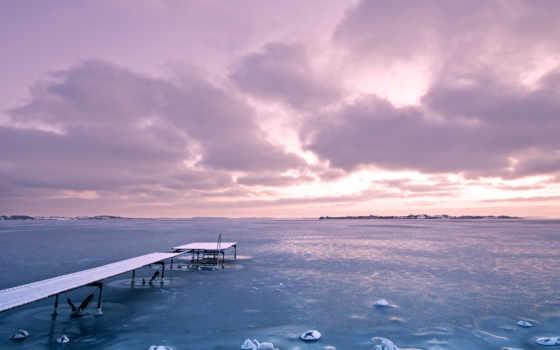 небо, закат, фиолетовый