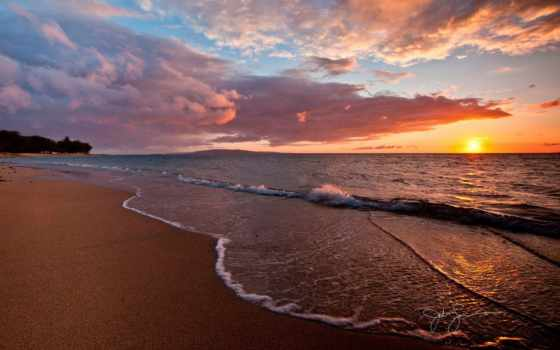 soleil, plage, coucher