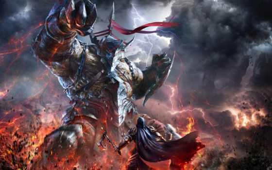 fantasy, воители, игры, битвы, lords, fallen, битва, монстры, armour, гигант,