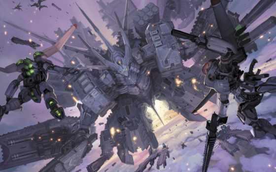 меха, меча, anime, toshiaki, takayama, полет, небе, нить,