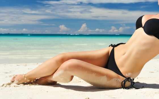 девушка, пляж, купальник, море, песок, красивый, starve, бикини, keep