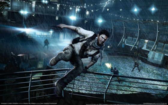 uncharted, deception, drakes, download, free, враги, ночь, прыжок, забор, дождь, игра,
