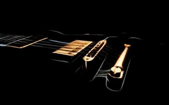 картинка, струны, гитара, инструмент, музыка, палуба, black, гриф,