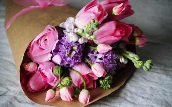 букет, лютики, тюльпаны