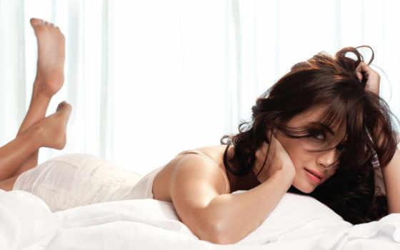 кровать, женщина, lying