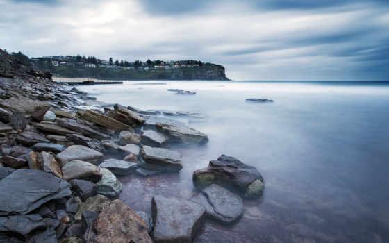 австралия, sydney, дома, природа, побережье, большой, скалистый, берег, камни, reki,
