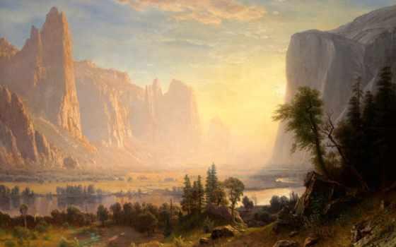 бирштадт, albert, озеро, bierstadt, горы, природа, картинка, yosemite, закат, картины,