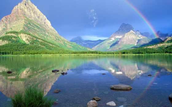 glacier, радуга, янв, озеро, swiftcurrent, many, радуги, hotel, world, свет,